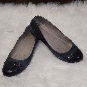 💗 Ecco Blue & Black leather flats loafers 39